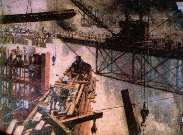 Painting of erecting a Lock Gate - Click here to return to the previous page.